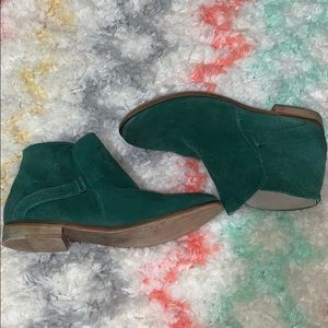 Free People Distressed Blue/Green Ankle Booties